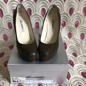 Olive green platform heels